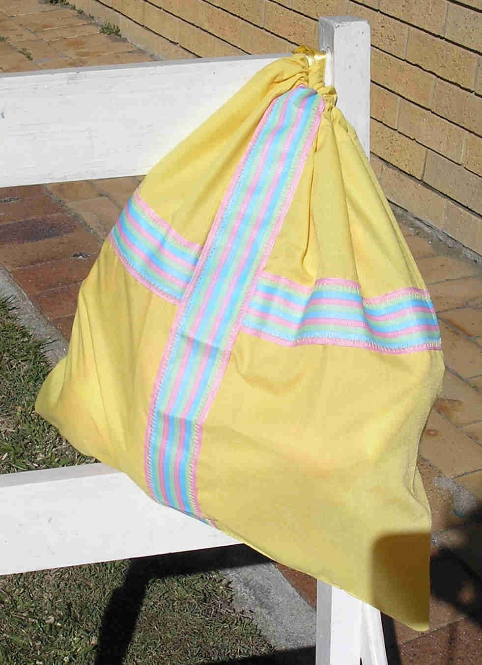 Etsy :: BugsInRugs :: Yellow drawstring library bag with multi coloured trim