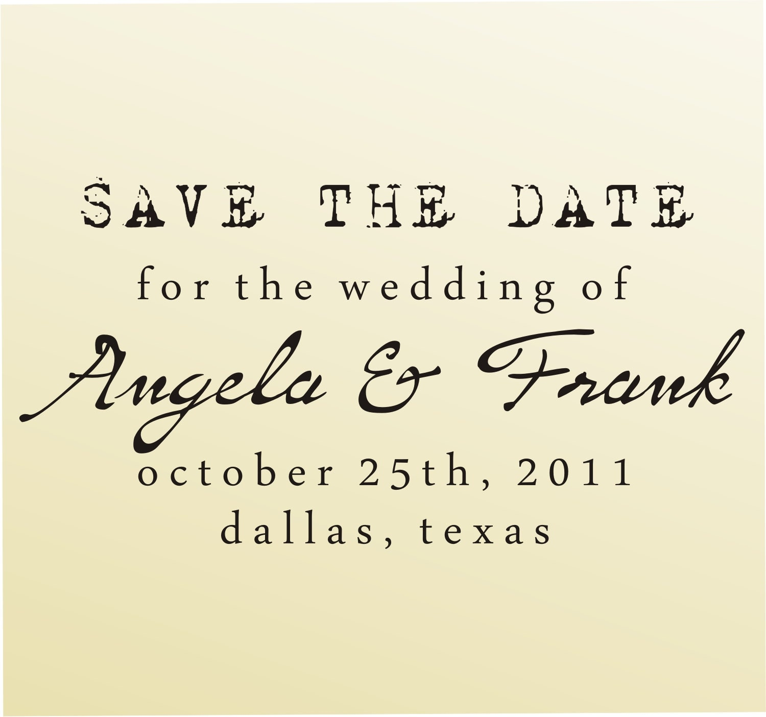 SAVE THE DATE vintage design typewriter font rubber stamp clear block mounted -style 6011  - custom wedding stationary