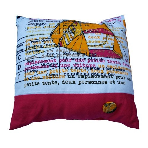 Camping in France pink cushion