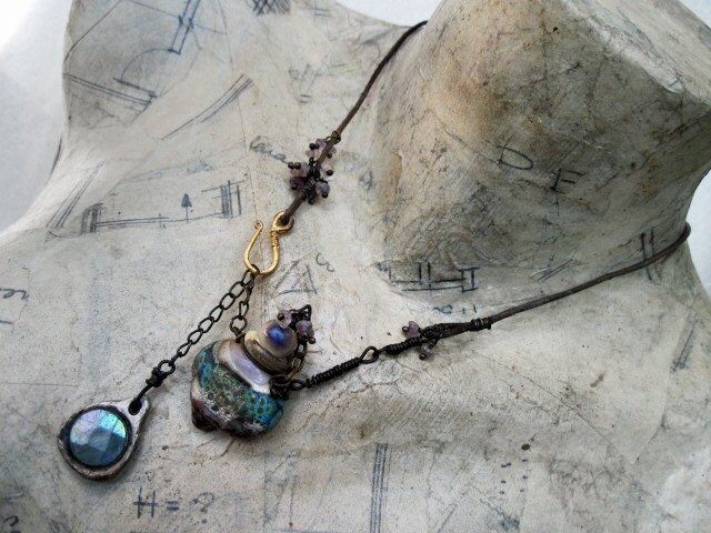 The Strange Self. Glowing Lampwork Vial Bottle Talisman Choker. Victorian tribal rustic gypsy assemblage cosmic metaphysical.