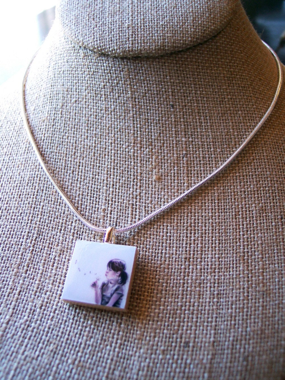 A WISH -- Scrabble Tile Pendant -- FREE CHAIN -- FREE ILLUSTRATION