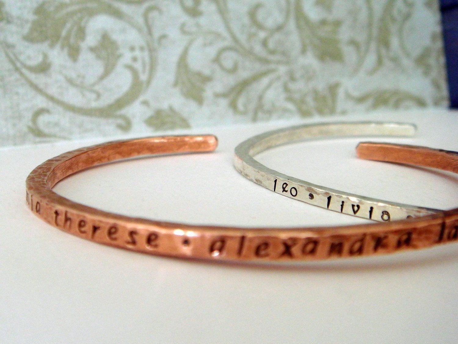 Small or Medium copper cuff - personalized for friend, teacher, love, bridesmaid, BFF or guy- could be twilight or new moon inspired. Can have inside secret message. 2 lowercase font choices.  Hammered or smooth finish.