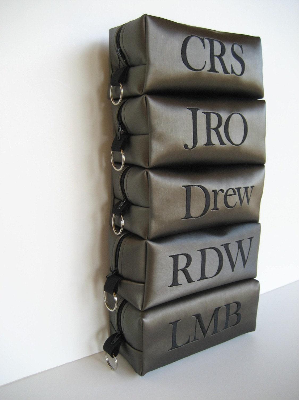 Larger Sized Personalized Shaving Bag Brushed Aluminum for Groomsmen