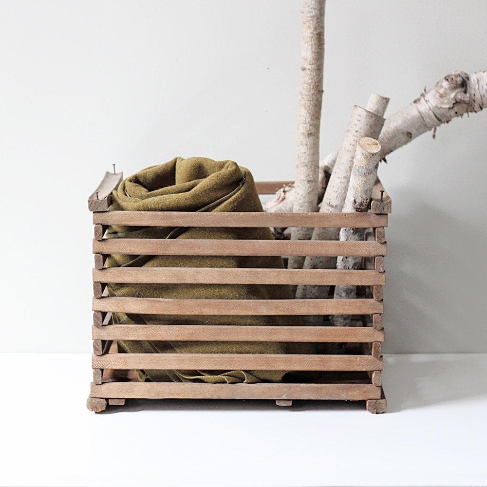 Sale Vintage Slat Crate Orchard Storage Box Wood By Hruskaa