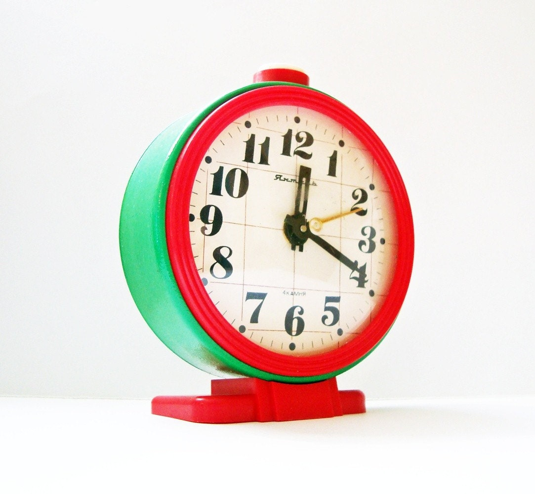 Vintage Russian mechanical alarm clock Jantar from Soviet Union