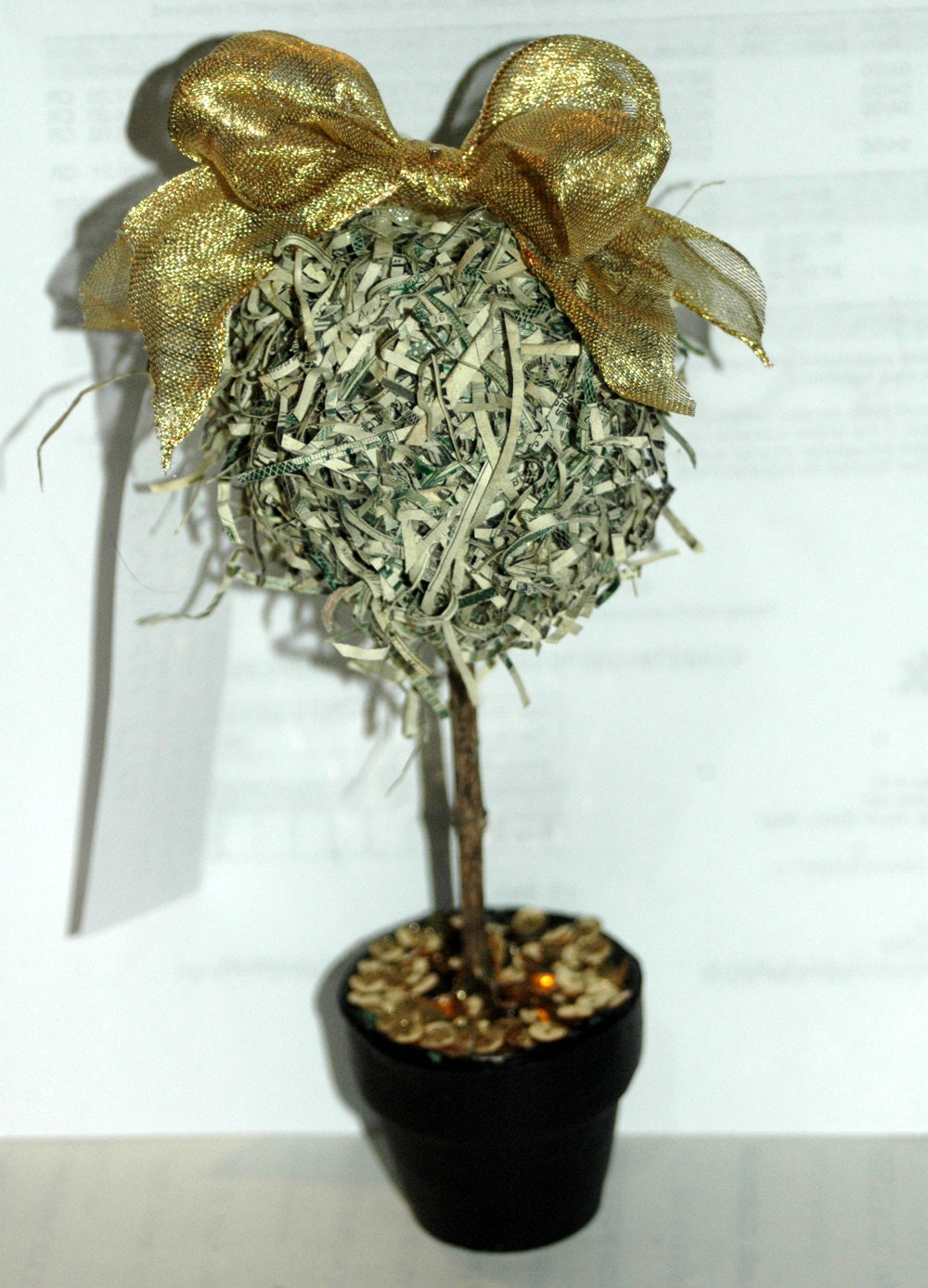 Recycled Money, Pot of Gold Money Tree Ornament/Decoration