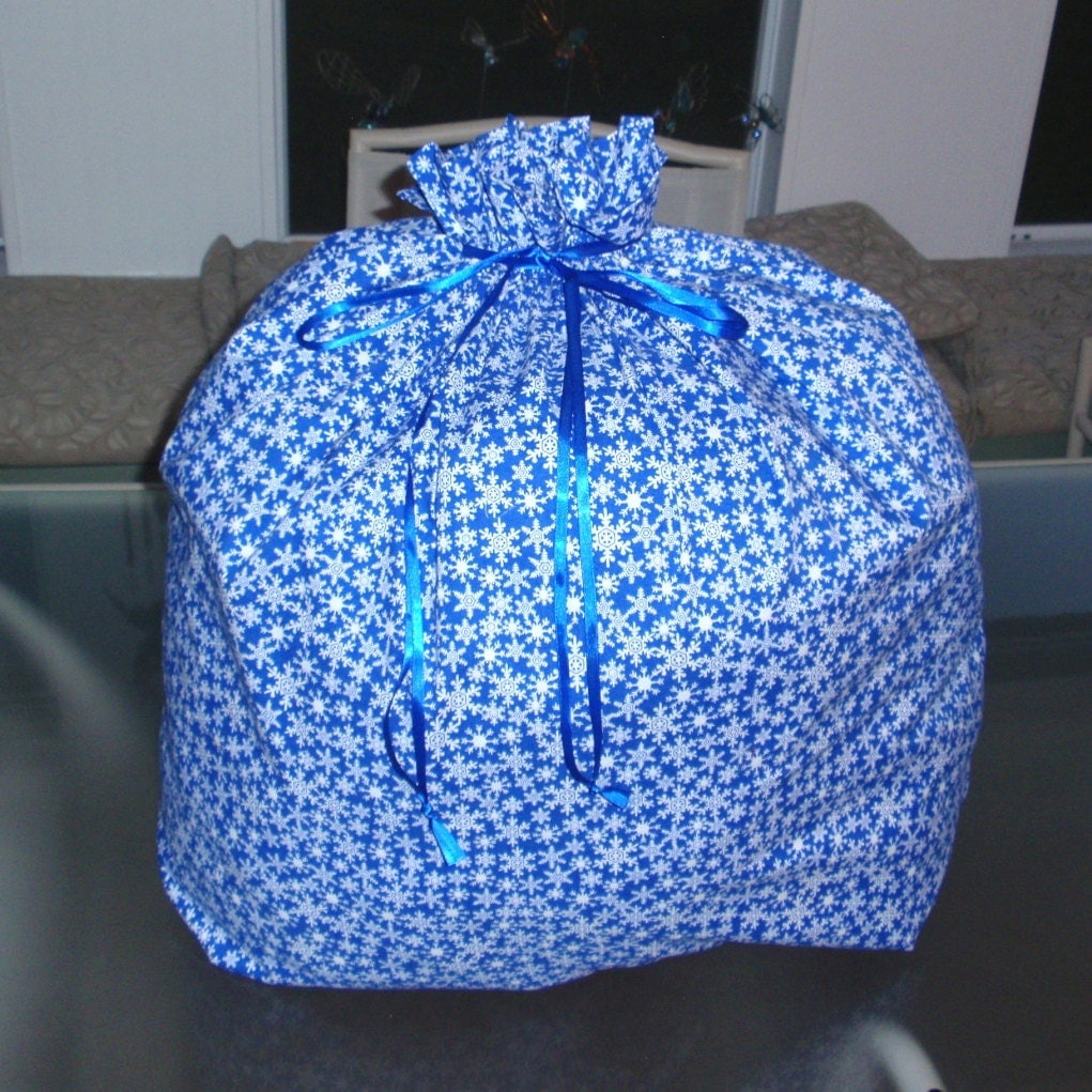 Extra large christmas gift bag snowflake blue by ksewingbasket