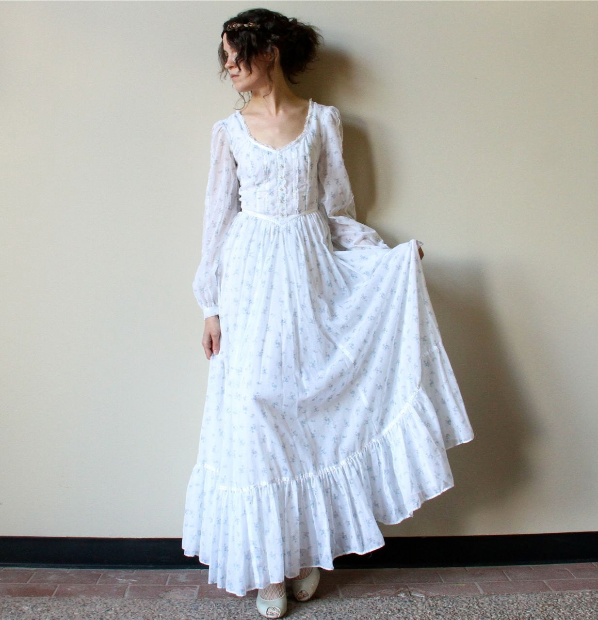 70s gunne sax boho wedding dress fall hippie by for Simple cotton wedding dress