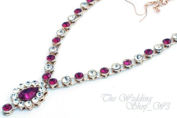 Gold Pink Fuschia Clear Kundan Indian Wedding Jewelry Matha Patti Tikka Head Chain Bollywood Jewelry Grecian Hijab Bridal Parties Prom M23