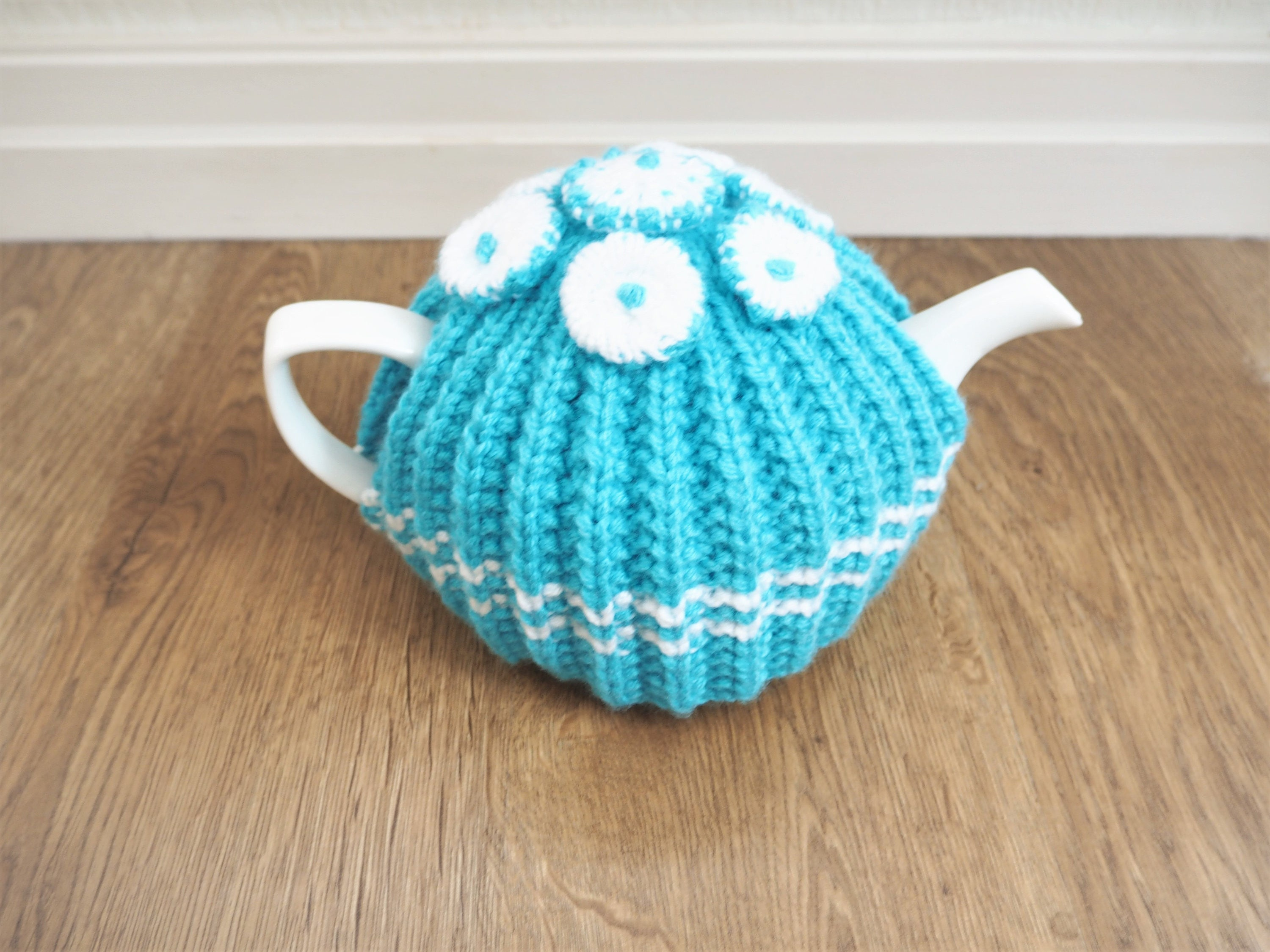 Turquoise and White Tea Cosy  Blue  White Tea Cosy  Floral Tea Cosy  Medium Tea Cosy  (Ready to Post)