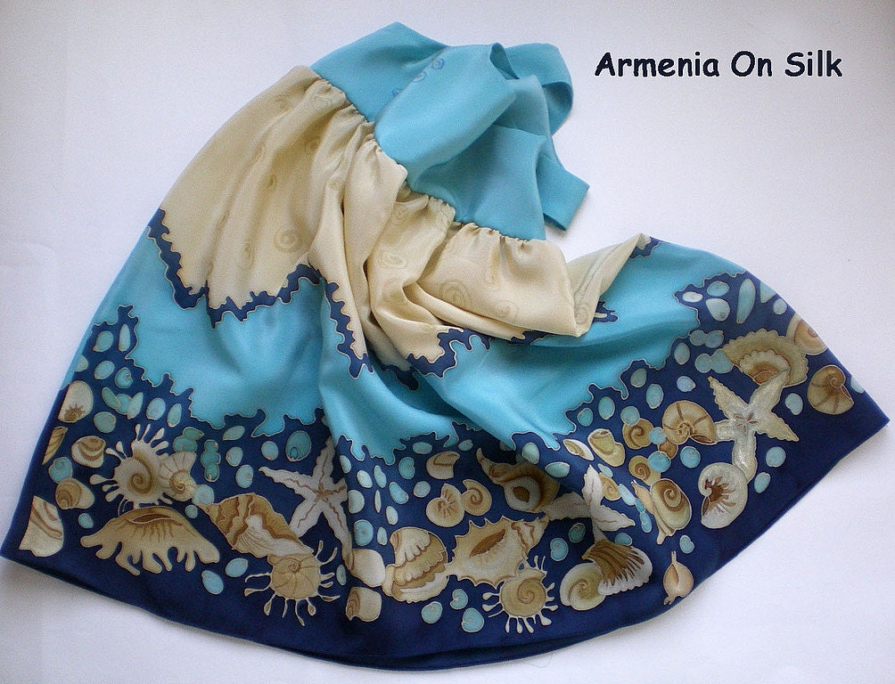 Hand painted blue dress Seashells. Made to order. Free worldwide shipping.Size: for 3-4 years old girls - ArmeniaOnSilk