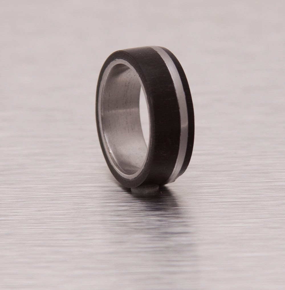 mens wedding band titanium and wood by aboutjewelry