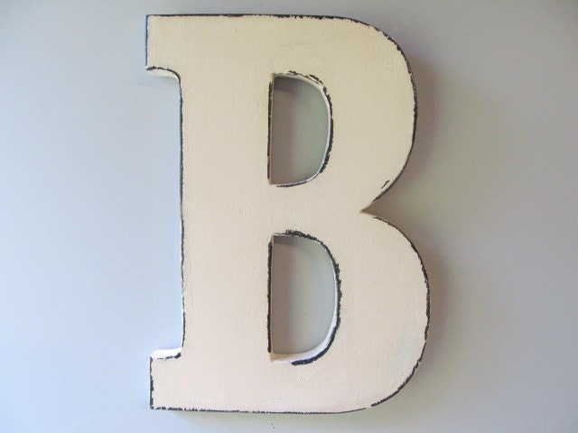 Items similar to 3d large wood letter shabby chic wooden for Big wooden letter b