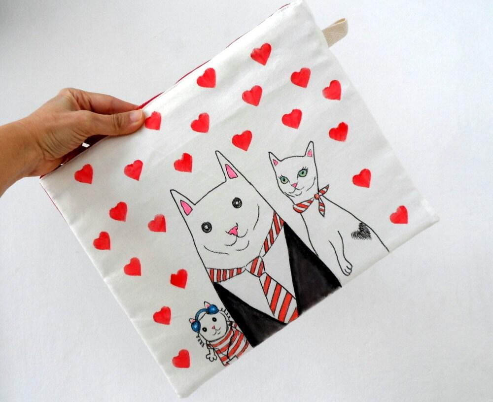 Valentine embreagem, Manga Ipad, caso Gadget / Família de gato com corações vermelhos