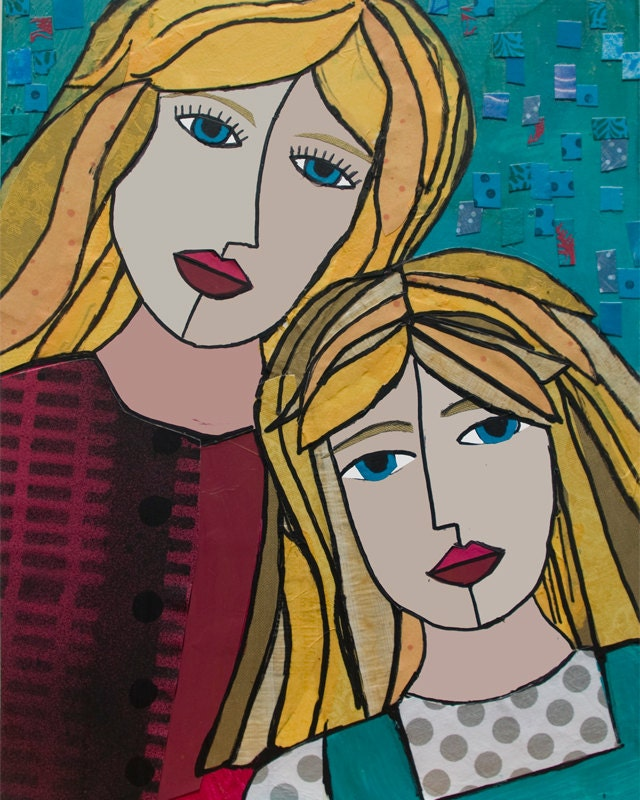 Like mother like daughter art print mother daughter by for Art sites like etsy