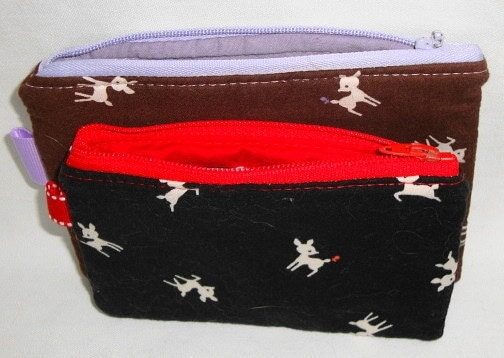Baby Deer and Butterflies Zippered Pouches  2 Pack by WolfBait