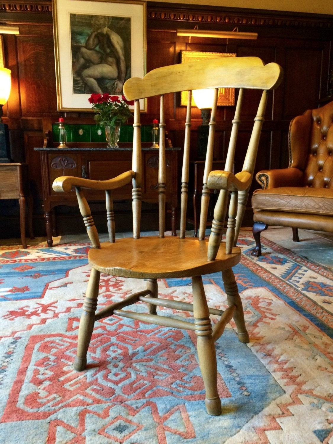 Antique Windsor Chair Pine Armchair 19th Century Victorian