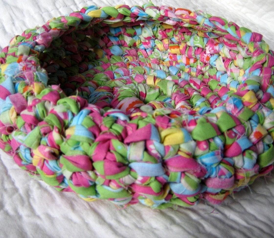Spring Centerpiece Rag Crochet Basket by NewEnglandQuilter