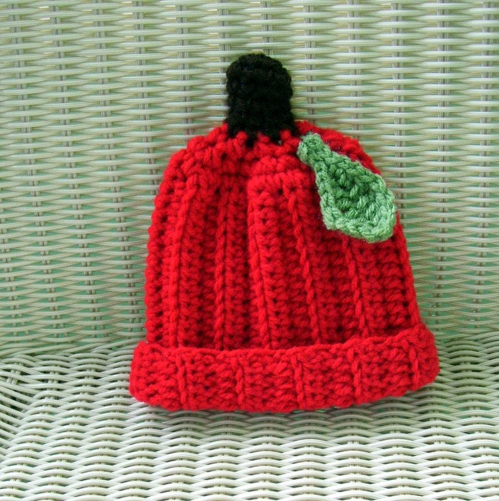 Crocheted Apple Hat Newborn