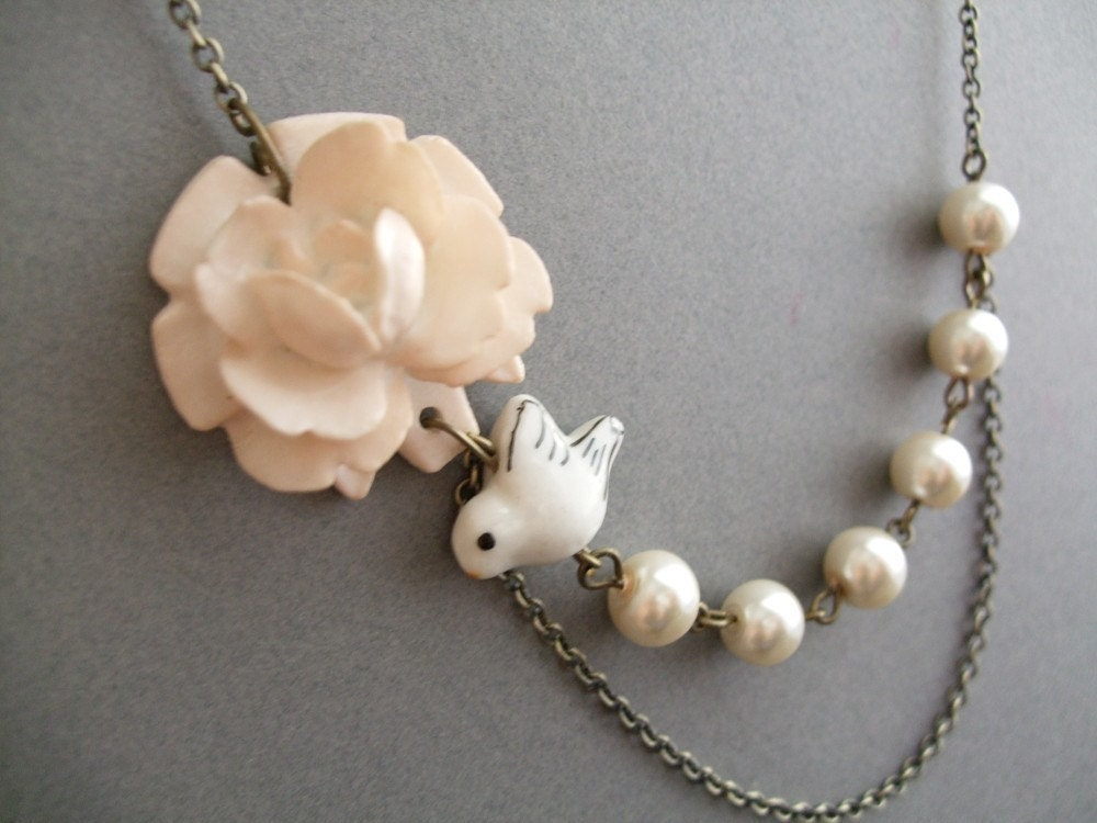 Ivory Flower with White Bird & Ivory Pearl Necklace, Ivory Bliss (Free matching earrings)
