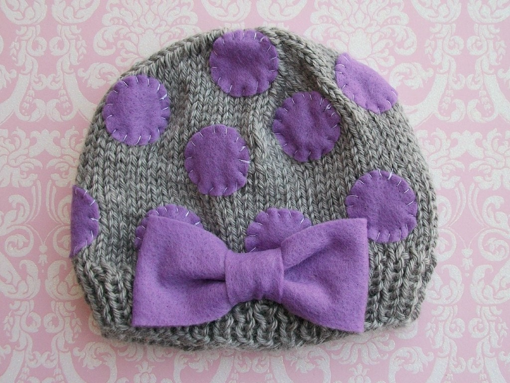 PURPLE and GREY DOT Beanie-Newborn size- Made to order only