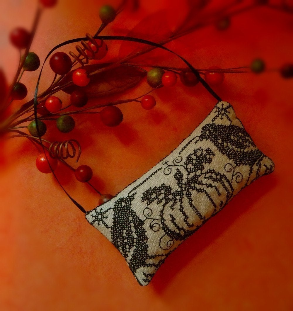 Fall Pumpkin and Crows Blackwork Ornament
