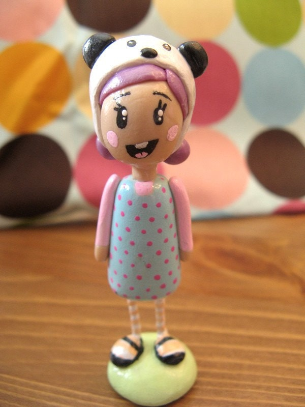 SALE- Kawaii Panda Hat Girl OOAK Polymer Clay Doll