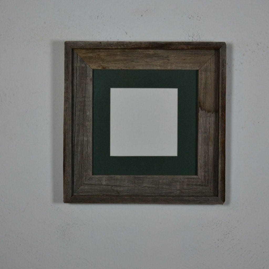 8x8 Reclaimed Wood Picture Frame With Green 5x5 Mat By
