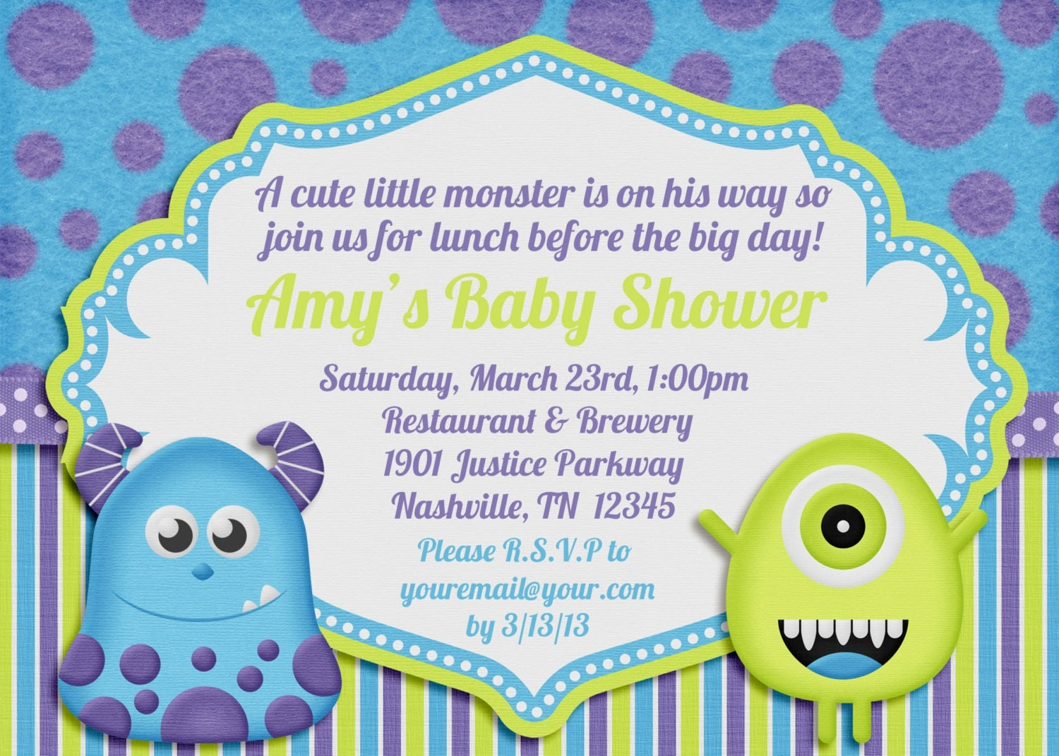 little monster baby shower invitation by amandacreation on etsy