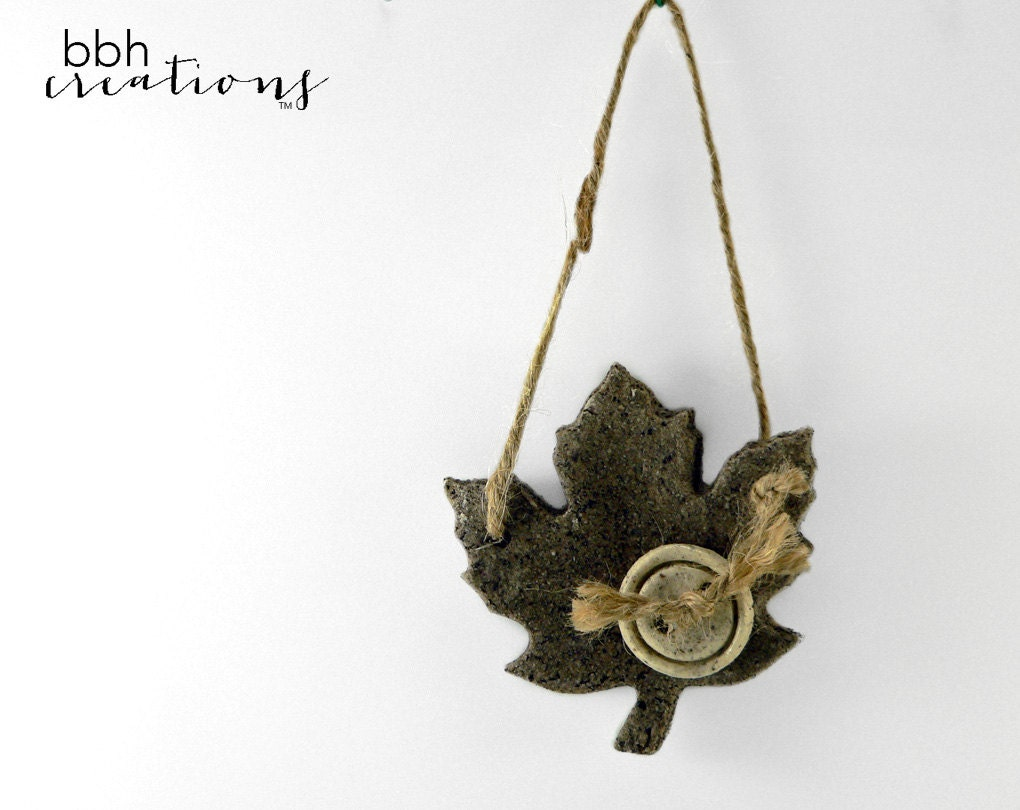 Dark Maple Leaf Handcrafted Ornament / Salt Dough Decoration/ Autumn / Fall / Thanksgiving Decoration - BBHCreations