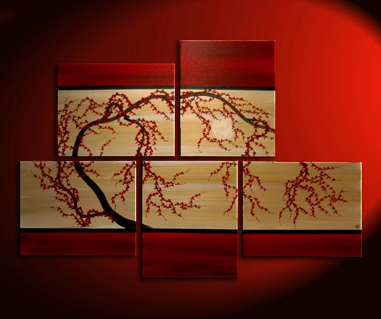 56x40 HUGE Custom Huge Gnarly Plum Tree Painting Original Asian Style Modern Abstract Art Red and Gold Textured Large Five Canvases