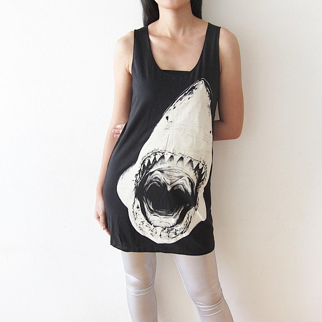 Shark shirt tank top women t shirt size m by punkrocktshirt for Shark tank t shirt printing