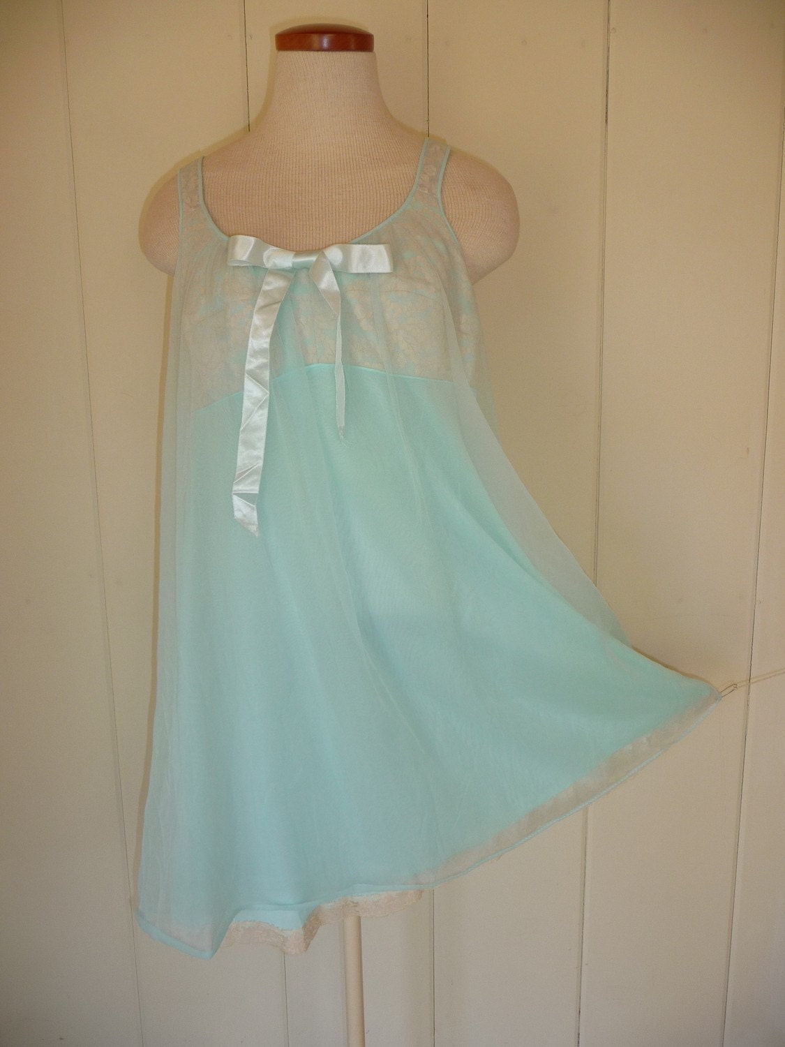 Vintage Powder Blue Sheer Babydoll Nightie Size 38 By Sparcle