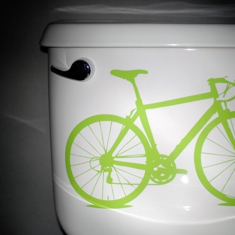 Free Shipping - bike - vinyl graphic, apple green
