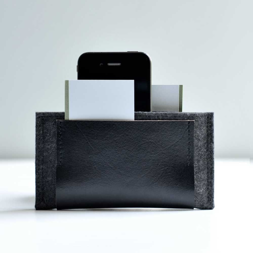 New Iphone Wallet - Graphite Grey Wool with Black Leather