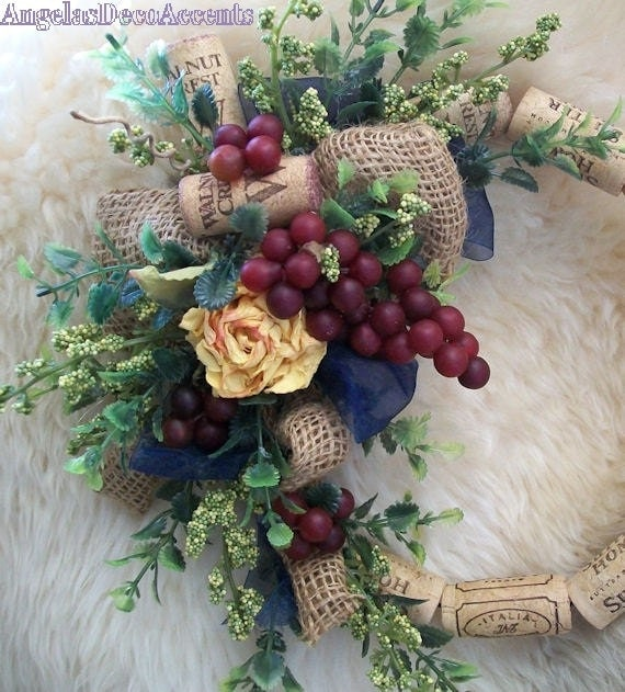 Country wreath rose burlap cork wreath wall accent table wreath
