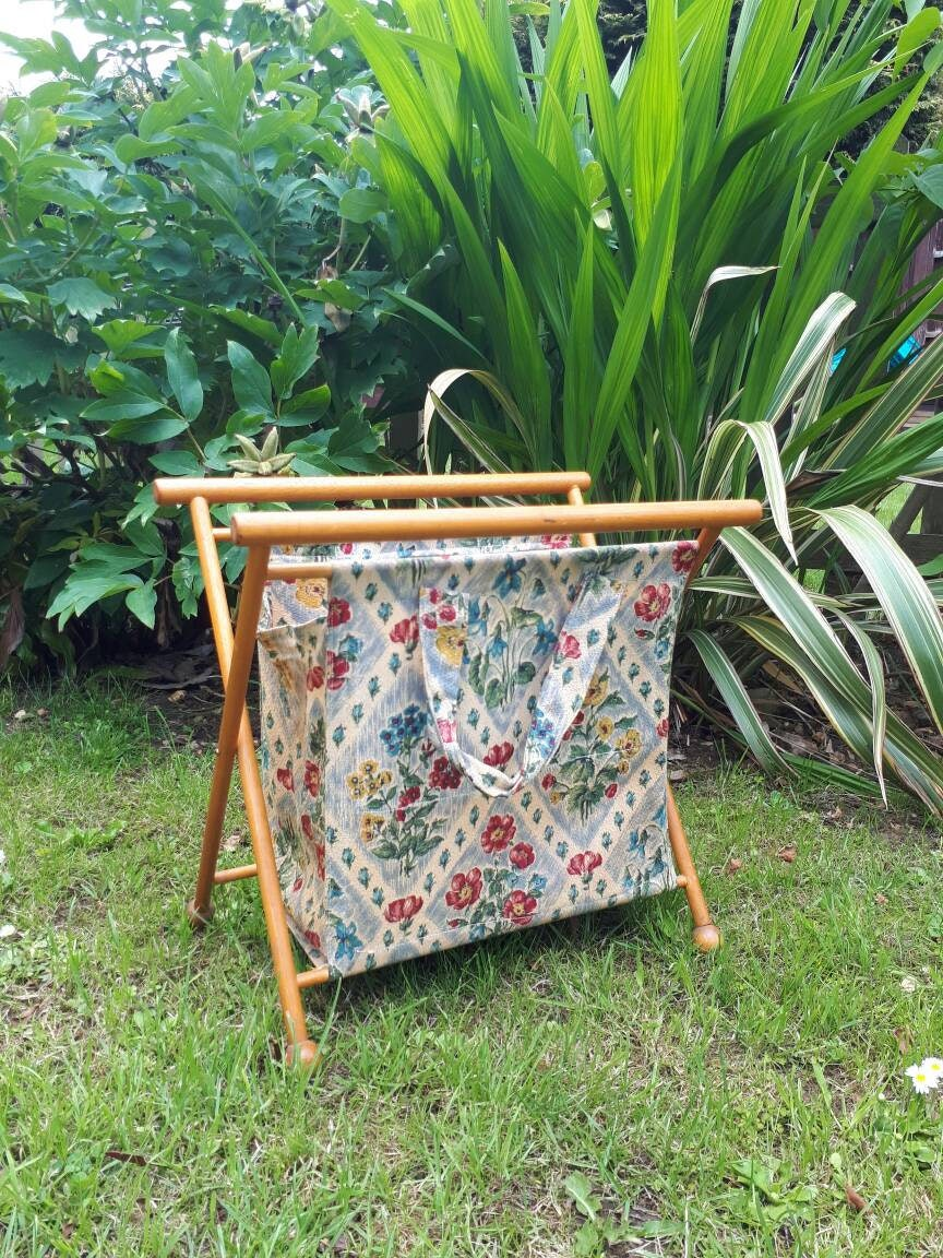 Vintage Wood Frame Folding Sewing Basket Knitting Yarn Bag