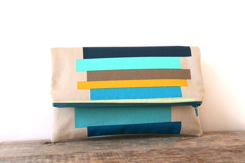 foldover clutch purse / home decor designer fabric / aqua teal mustard brown tan navy peach / spring and summer fashion