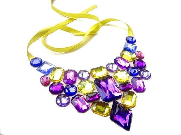 Bold Purple and Yellow Rhinestone Statement Bib Necklace