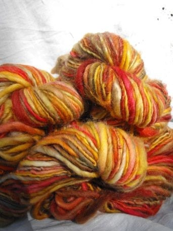 Handspun, Handpainted, Single Ply Wool/Merino Yarn-Autumn Bliss