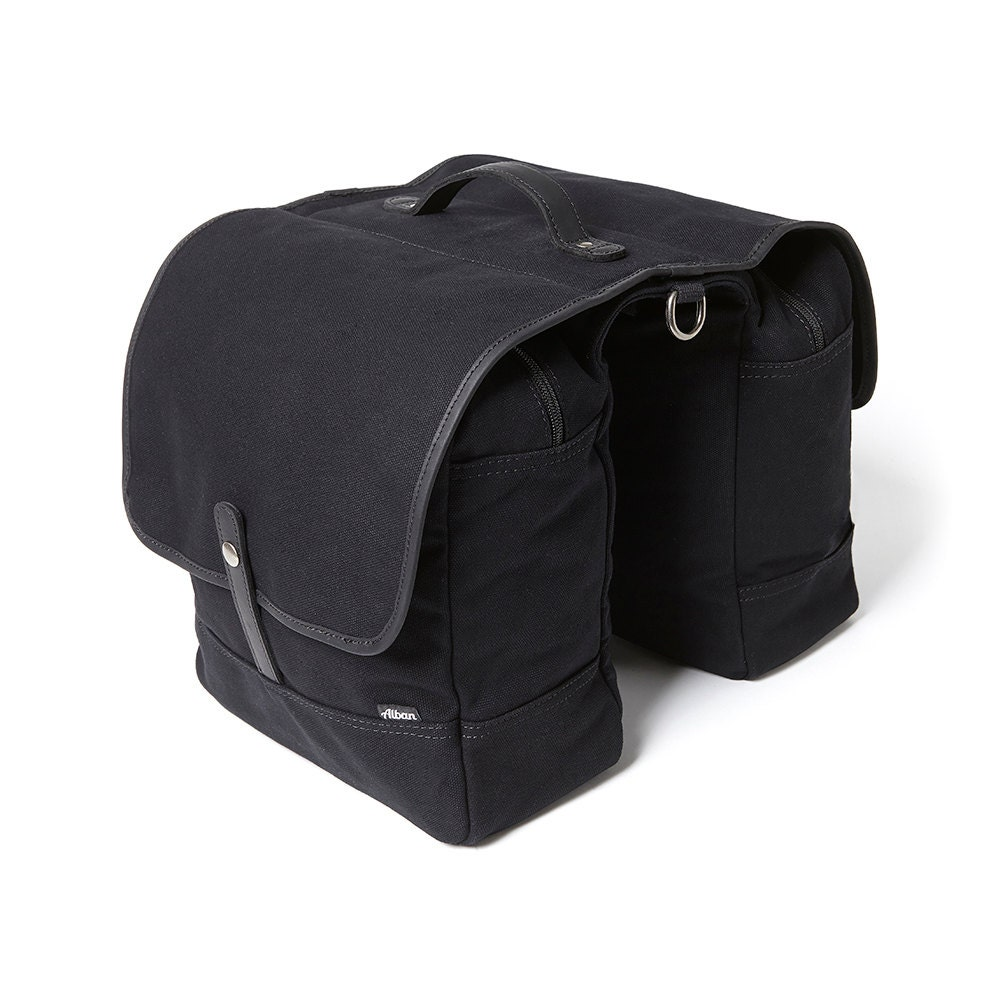Bike Bag  Bike Pannier  Bicycle Bag  Panniers  Black Canvas Double Panniers  Pannier Bag  Bike Bag