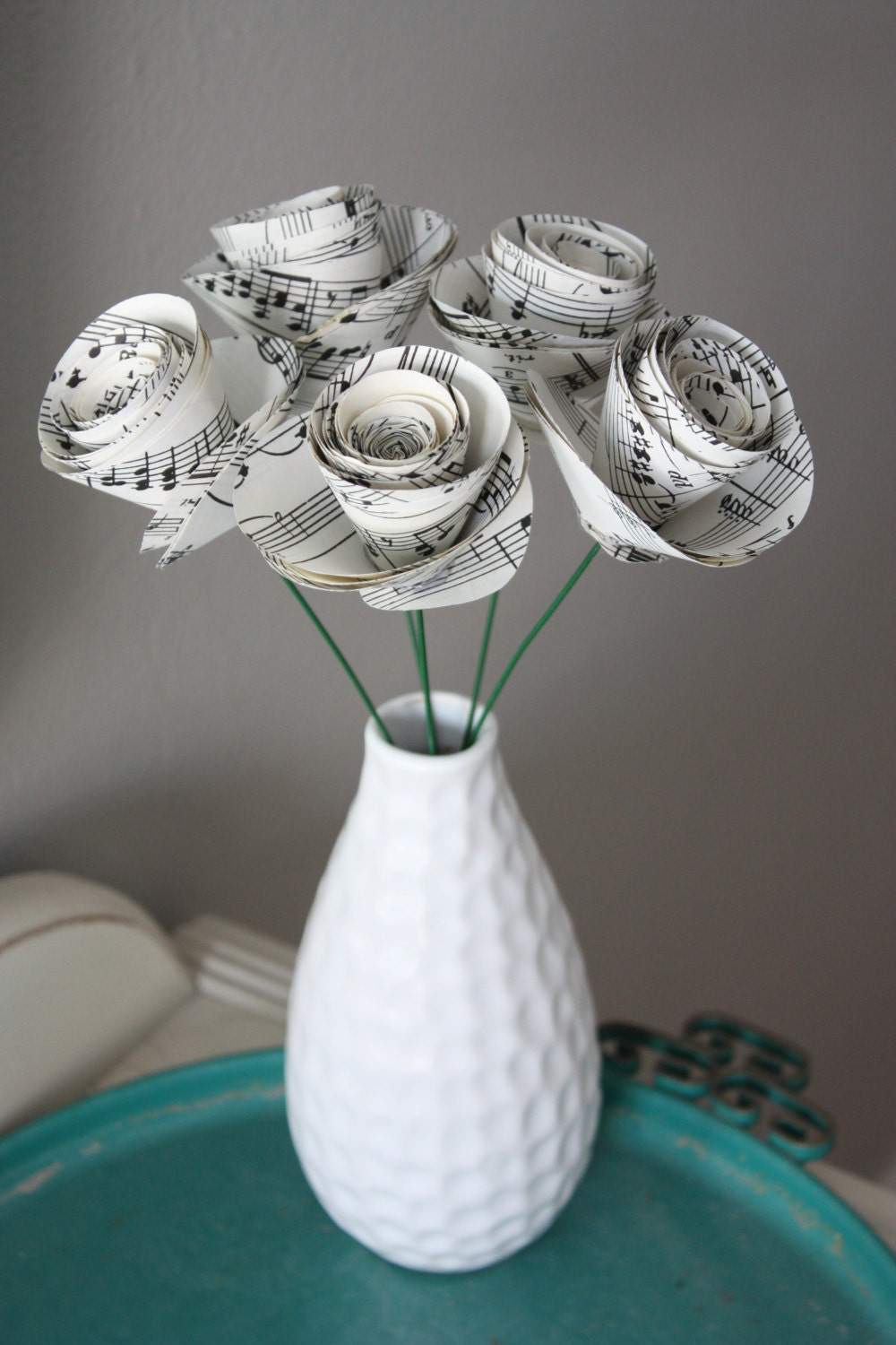 large paper rose flowers. repurposed sheet music.  set of 5 - dragonflies
