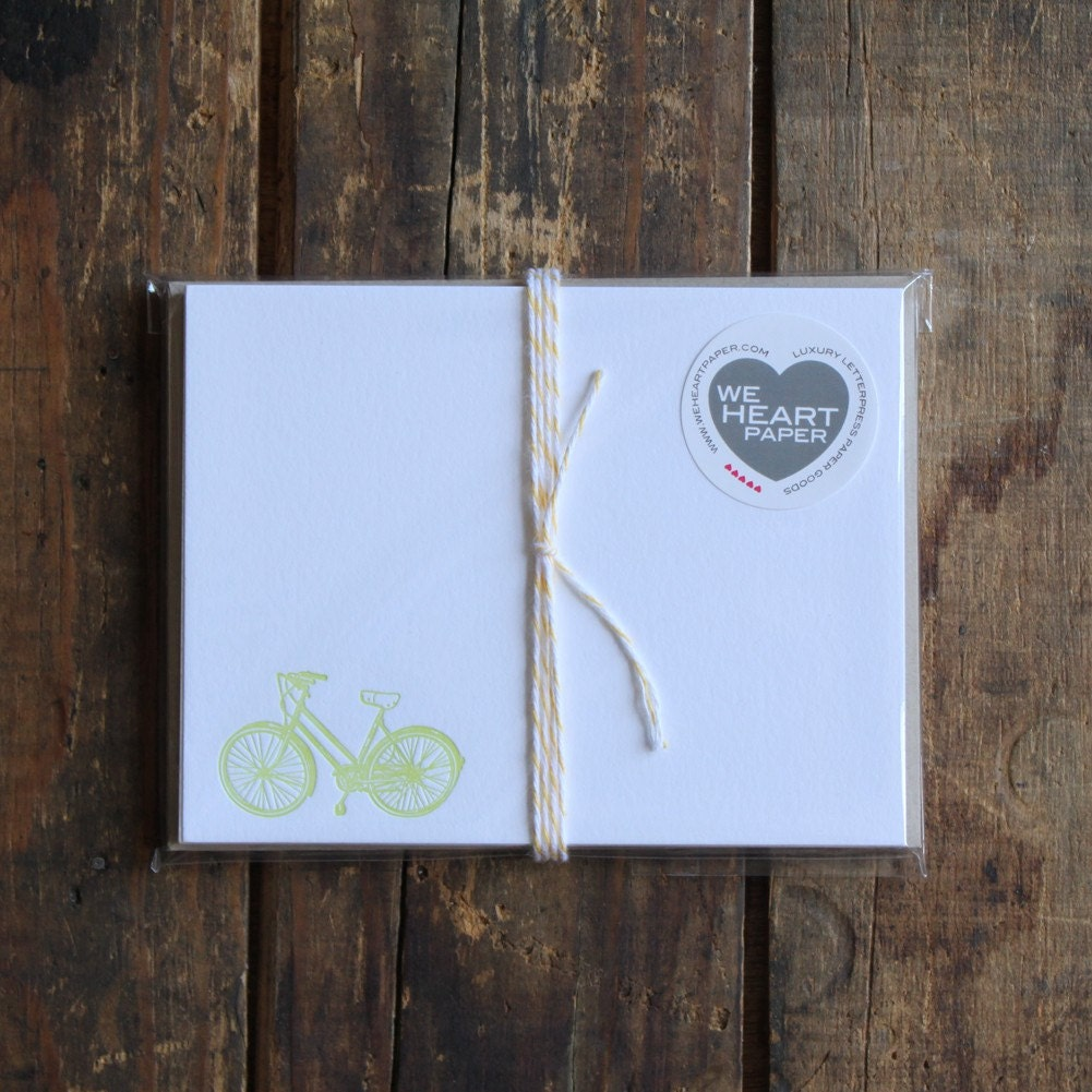 letterpress bicycle note cards