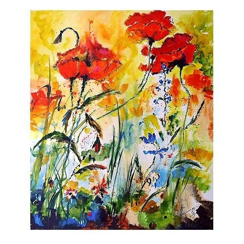Drunk On Poppies - Original Oil Painting on Belgium Linen by Ginette Callaway