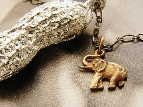 Circus Peanut  Necklace - life size peanut in antique silver with elephant charm- a great gift (Free Shipping)