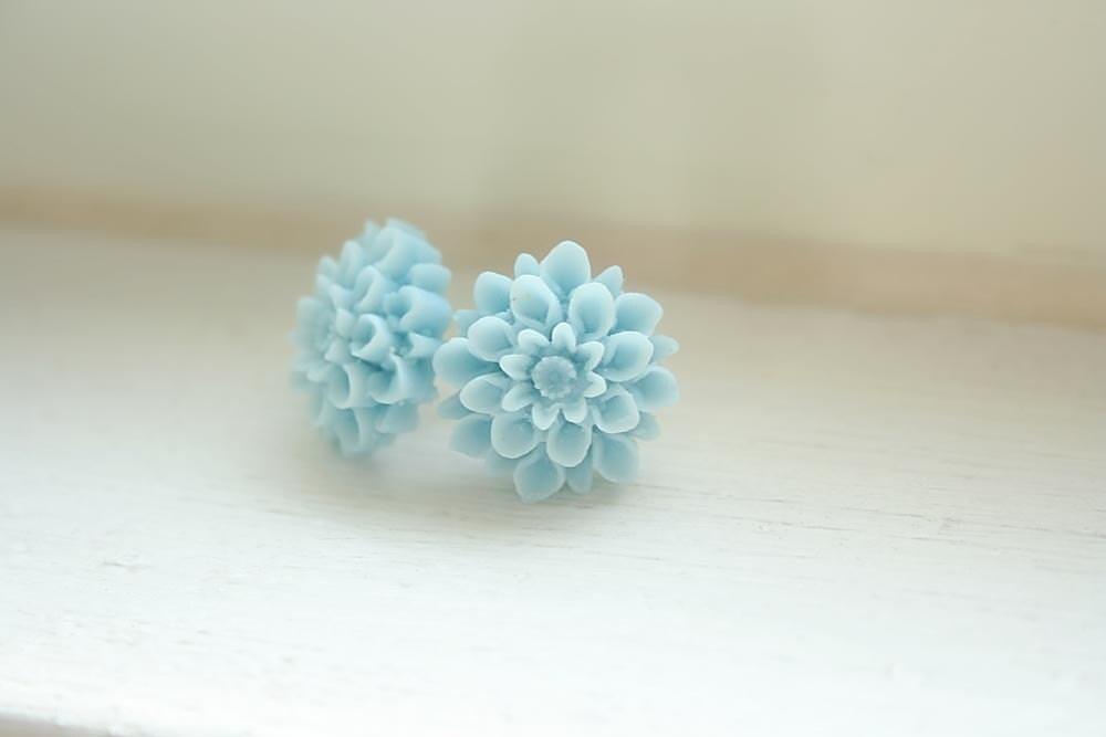 Cloud pompom fiore earrings