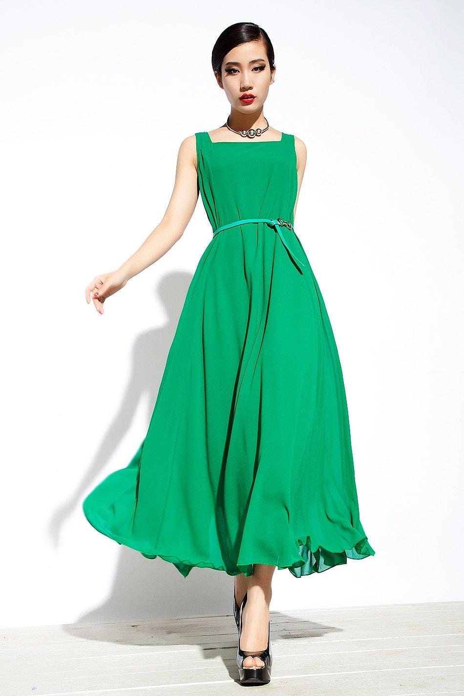 Maxi Dress Unique Sundress in Green Summer Long Dress - YL1dress