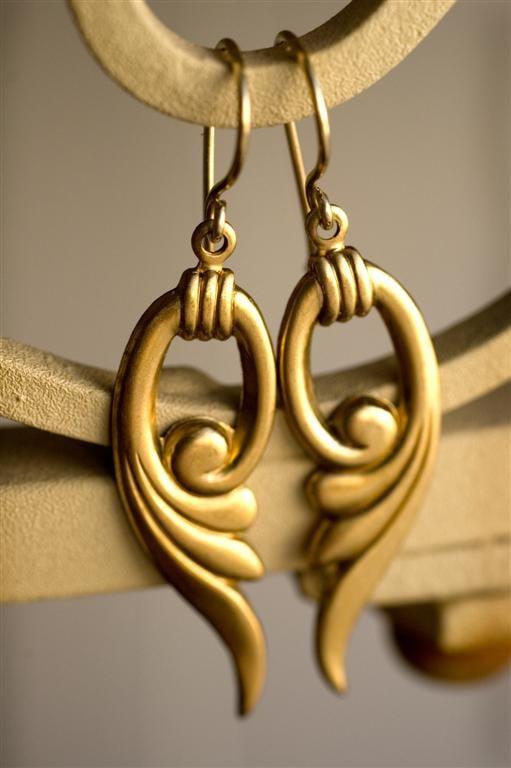 Art Deco Earrings in Raw Brass