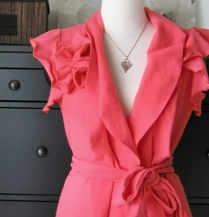 Romantic Wrap Top With Short Ruffled Sleeve  Coral/ Pink Sweatshirt