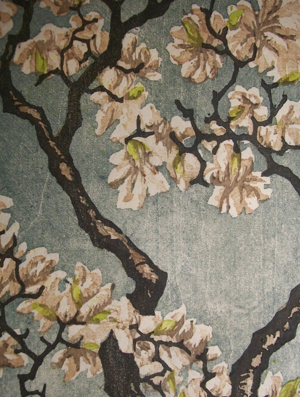 Tulip Magnolia Woodblock Print